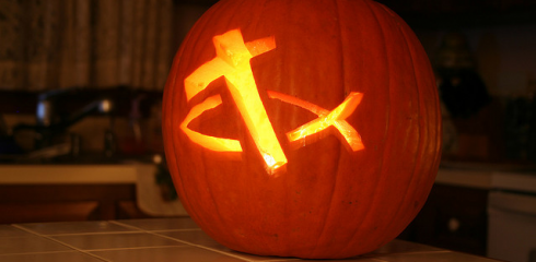Pumpkin with Cross